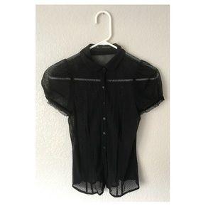Zara Basic sheer button up blouse